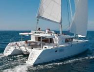 With catamaran in Greece